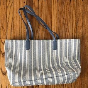 NEW Coach Central Tote in Blue White Logo Stripe